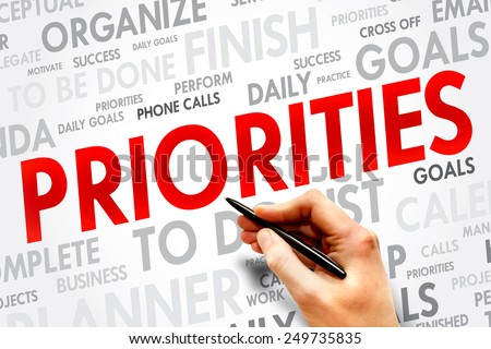 PRIORITIES word cloud, business concept - stock photo