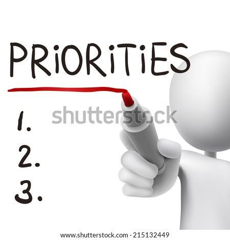 priorities word written by 3d man over white  - stock photo
