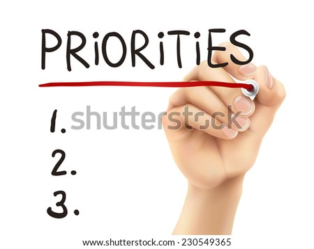priorities word written by hand on a transparent board - stock photo