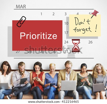 Prioritize Calendar Plan Planning Organizer Concept - stock photo