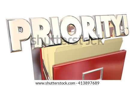 Priority 3d Word Illustration Filing Cabinet Top Most Important Documents - stock photo
