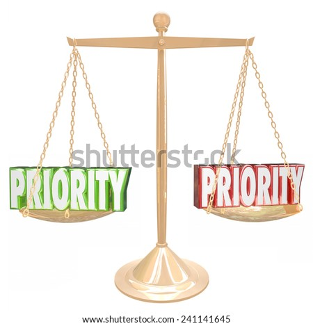 Priority 3d words on a gold scale or balance to illustrate weighing tasks, jobs or qualities for the most important thing to do - stock photo