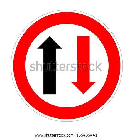Priority for incoming traffic sign isolated on white background - stock photo