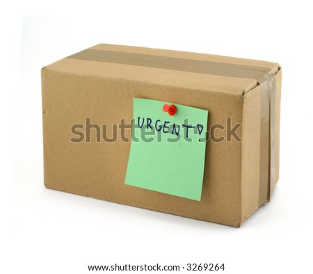 priority package isolated on white background - stock photo