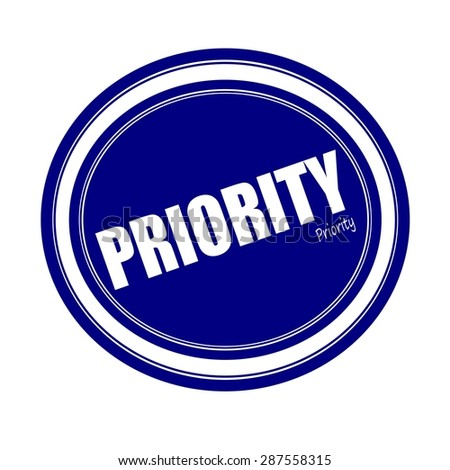 PRIORITY white stamp text on blue - stock photo