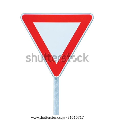 Priority yield give way road traffic sign, isolated roadsign - stock photo