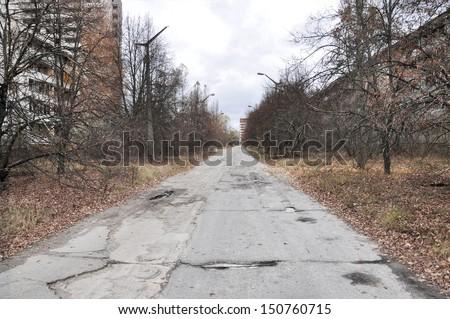 Pripyat Scary Street of the abandoned city - stock photo