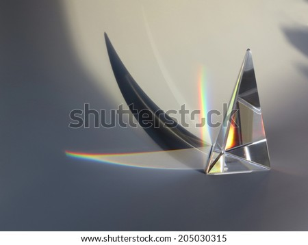 prism reflection with shadow - stock photo