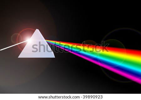 Prism refracting light beam to colors - stock photo