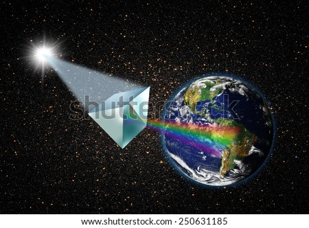 "prism with light spectrum ""Elements of this image furnished by NASA ""  - stock photo"