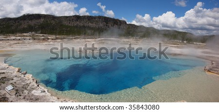 Prismatic Pool in Hot Springs section of Yellowstone National Park, Wyoming - stock photo