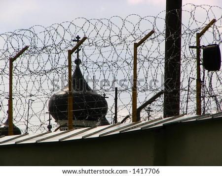 Prison and church - stock photo