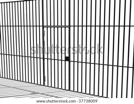 Prison bars and cell door - stock photo