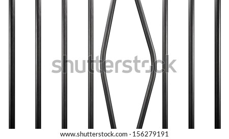 Prison bars isolated on white - stock photo