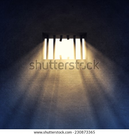 Prison cell interior , sunrays coming through a sawed off  barred window , Prison escape, Jailbreak , Freedom - stock photo