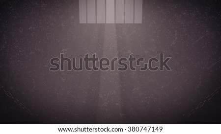 Prison cell window with moon light - stock photo