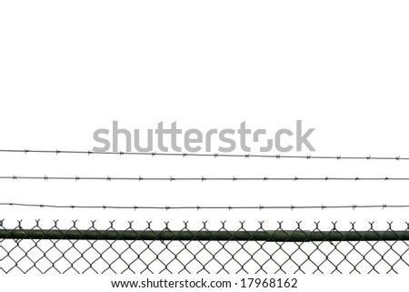 Prison fence isolated on white - stock photo