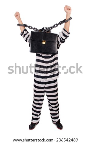 Prison inmate isolated on the white background - stock photo