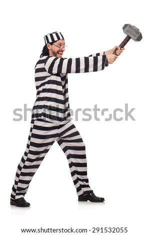 Prison inmate with hammer isolated on white - stock photo