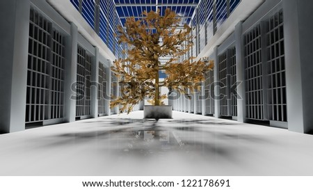 Prison interior - stock photo
