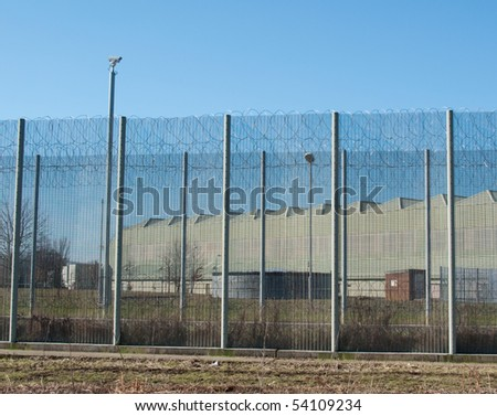 Prison Security Fence - stock photo