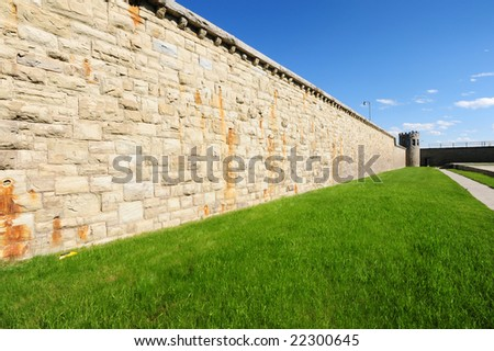 Prison wall in an old prison - stock photo