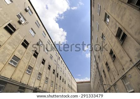 Prison walls - stock photo
