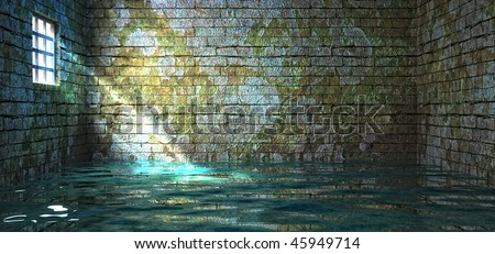prison walls in water - stock photo