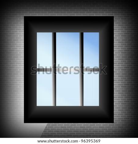 Prison window - stock photo