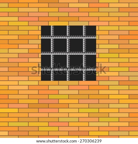 Prison Window on Red Brick Wall. Jail Wall with Window. - stock photo