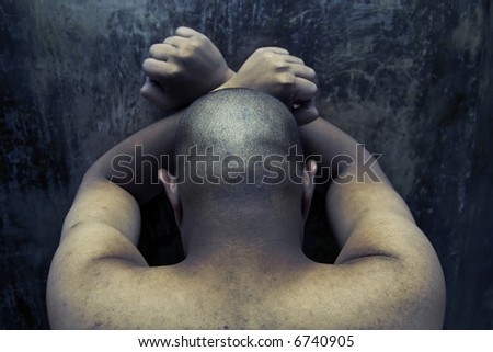 prisoner inside a jail - stock photo
