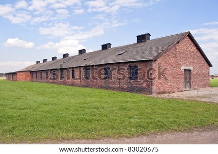 Prisoners barracks at the Auschwitz Birkenau concentration camp in Poland. - stock photo