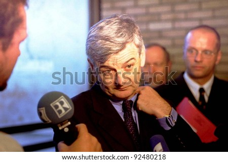 PRISTINA, KOSOVO - JUNE 30: German Foreign Minister Joshka Fischer speaks to the press in the lobby of a hotel in the capital Pristina on June 30, 1998 in Pristina, Kosovo