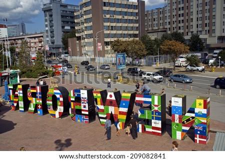 "PRISTINA, KOSOVO - SEPTEMBER 2: ""New Born"" Monument on September 2, 2013, Pristina, Kosovo. Kosovo is the youngest state in Europe. - stock photo"