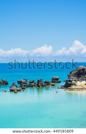 Pristine aqua marine water of Tobacco Bay in Bermuda. - stock photo