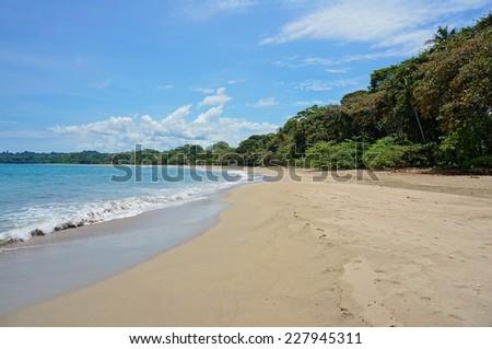 Pristine beach of Cocles on the Caribbean shore of Costa Rica, Puerto Viejo de Talamanca - stock photo