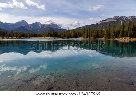 Pristine lake in sunny day surrounded by mountains and forest