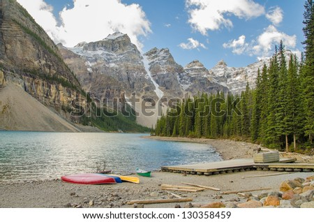 Pristine Moraine Lake on a beautiful day
