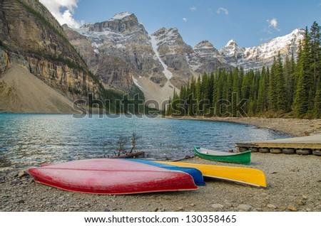 Pristine Moraine Lake on a beautiful day - stock photo