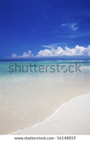Pristine white sand and blue sea view of Havelock island. Andaman islands India. - stock photo