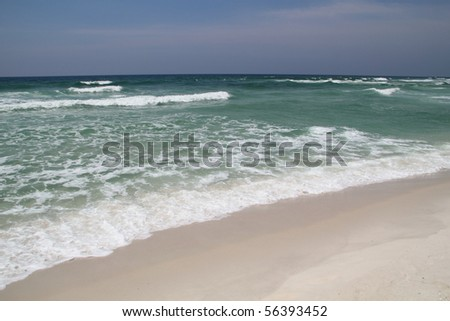 Pristine white sand beach - stock photo