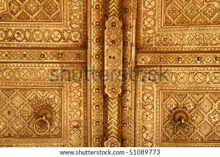 Pritam Chowk is the inner courtyard in City Palace Jaipur, India - stock photo