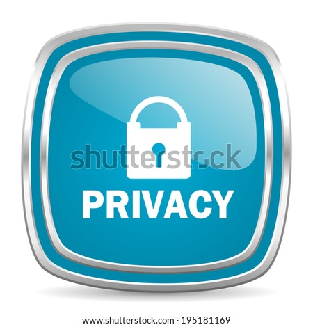 privacy blue glossy icon
