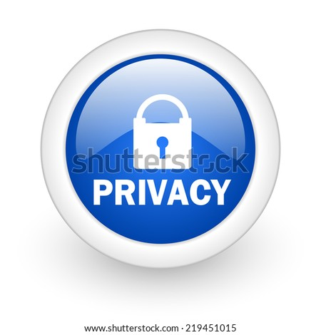 privacy blue glossy icon on white background