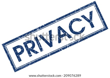 Privacy blue square grungy stamp isolated on white background - stock photo