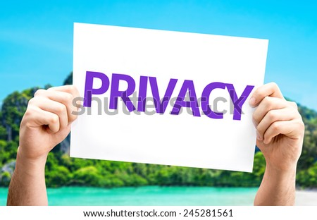 Privacy card with a beach on background - stock photo