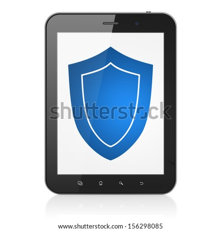 Privacy concept: black tablet pc computer with Shield icon on display. Modern portable touch pad on White background, 3d render - stock photo