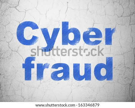 Privacy concept: Blue Cyber Fraud on textured concrete wall background, 3d render