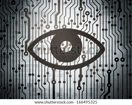 Privacy concept: circuit board with  Eye icon, 3d render - stock photo