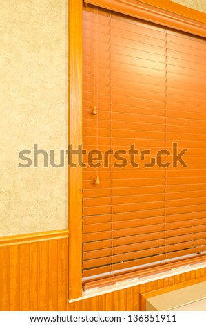 Privacy concept. Closed blinds. Beautiful and modern home and hotel bedroom interior design. - stock photo
